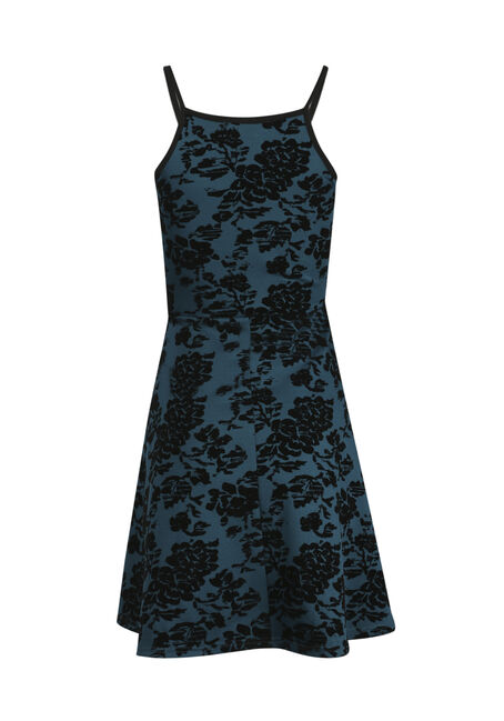 Women's Floral Flocked Fit & Flare Dress, TEAL, hi-res