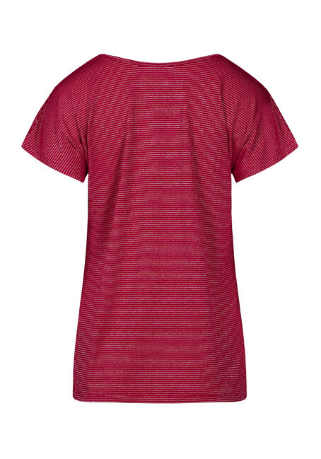 Women's Shimmer Stripe Tee, CRIMSON RED, hi-res