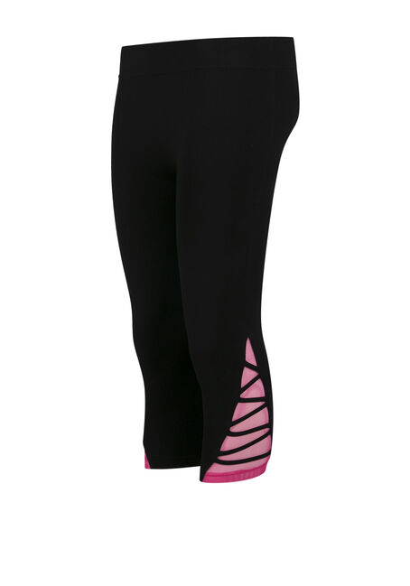 Ladies' Lattice Leg Capri Legging, BLACK, hi-res