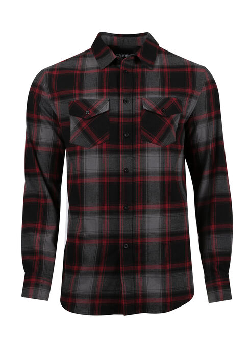 Men's Flannel Plaid Shirt, CRIMSON, hi-res