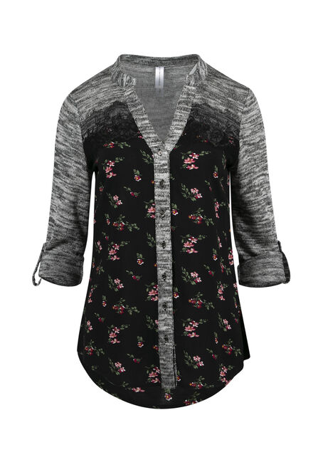 Women's Floral Roll Sleeve Shirt