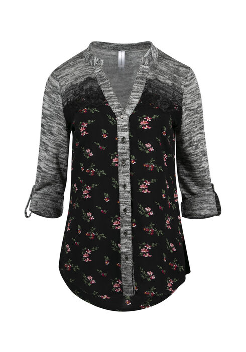 Women's Floral Roll Sleeve Shirt, BLACK, hi-res