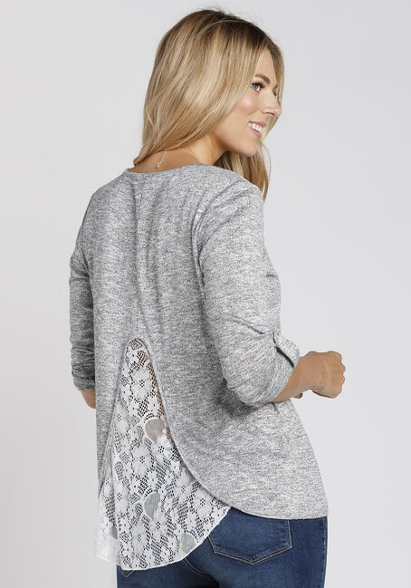Ladies' Lace Insert Top, GREY, hi-res