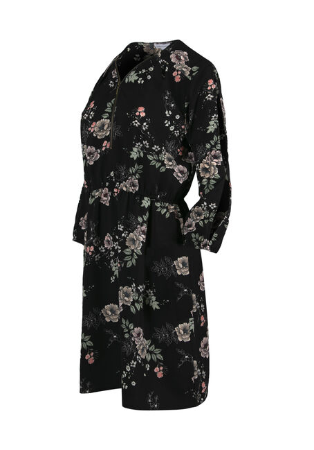 Women's Floral Cold Shoulder Shirt Dress, BLACK FLORAL, hi-res