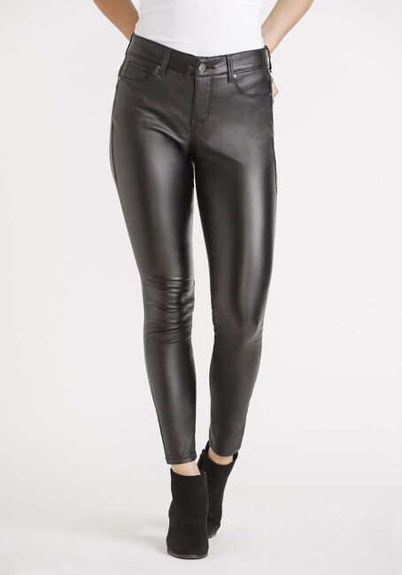 Women's Black Coated Push Up Skinny