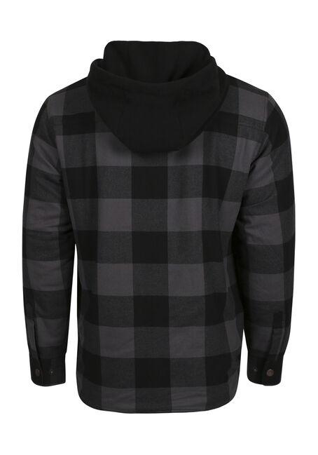 Men's Flannel Plaid Shirt Jacket, CHARCOAL, hi-res