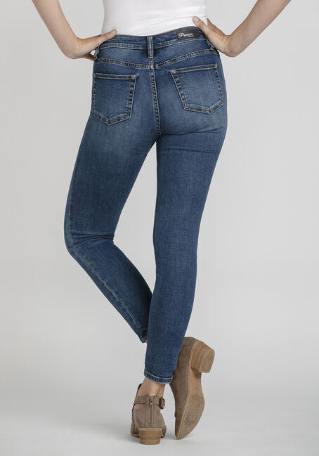 Women's Exposed Button Power Sculpt High Rise Skinny Jeans, DARK WASH, hi-res