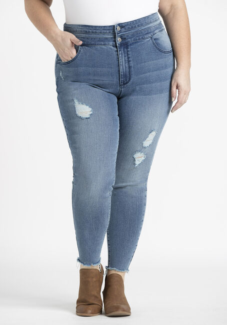 Women's Plus 2 Button Raw Hem Ankle Skinny Jeans