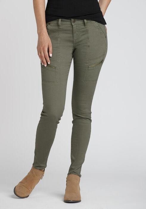 Women's Cargo Skinny Pants, OLIVE, hi-res