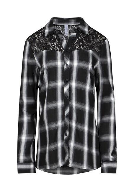 Women's Lace Trim Plaid Shirt