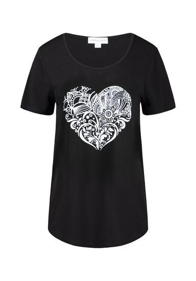 Women's Heart Scoop Neck Tee, BLACK, hi-res