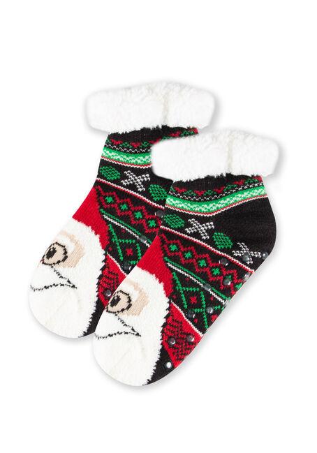 Women's Nordic Santa Slipper Socks, BLACK, hi-res