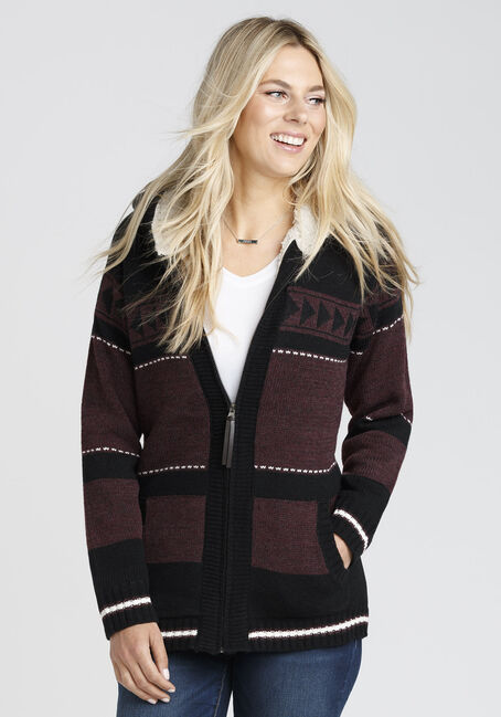 Ladies' Nordic Sherpa Lined Cardigan, BURGUNDY, hi-res