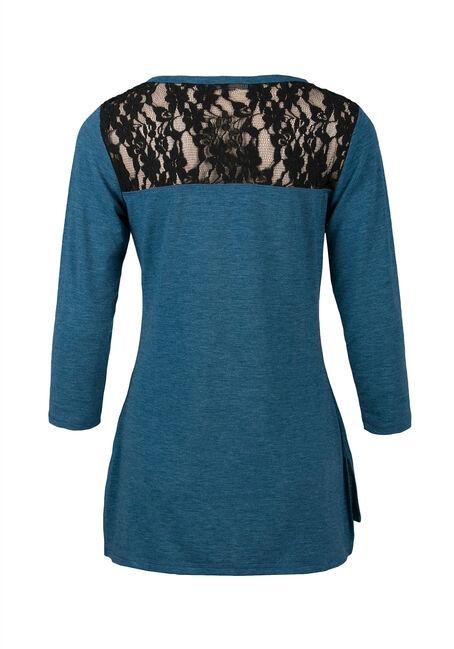 Ladies' Lace Insert Tee, MIRAGE BLUE/BLACK, hi-res