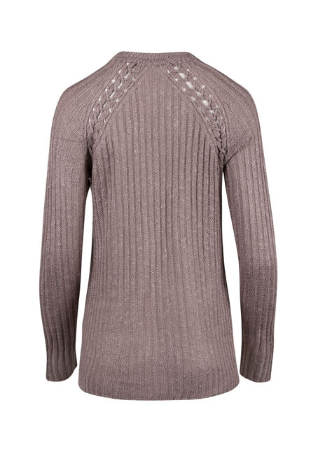 Ladies' Pointelle Sweater, MAUVE, hi-res