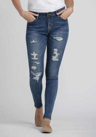 Women's Rip & Repair Skinny Jeans, DARK WASH, hi-res