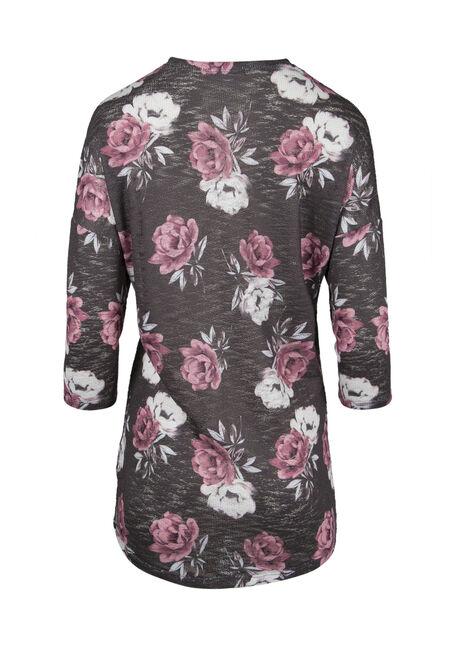 Ladies' Floral Cardigan, CHARCOAL/ PINK, hi-res