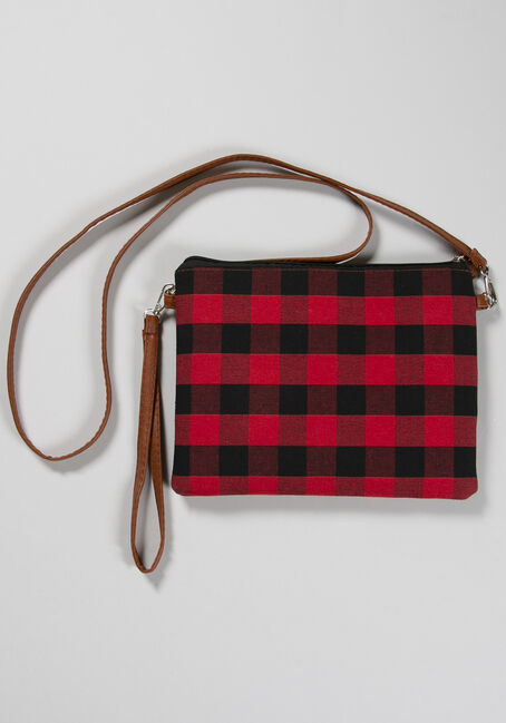 Women's Buffalo Plaid Crossbody, RED/BLACK, hi-res