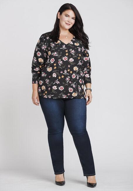 Women's Floral Lace Insert Blouse, BLACK, hi-res