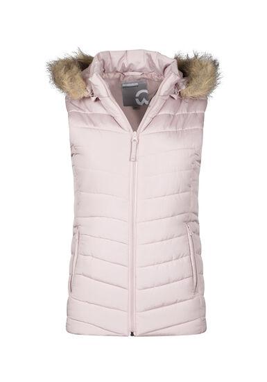 Women's Faux Fur Trim Quilted Vest, PINK, hi-res