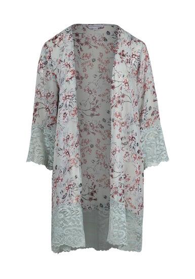 Women's Floral Lace Trim Kimono, COOL MINT, hi-res
