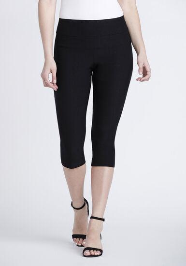 Women's Pull-On Black Capri Pant, BLACK, hi-res