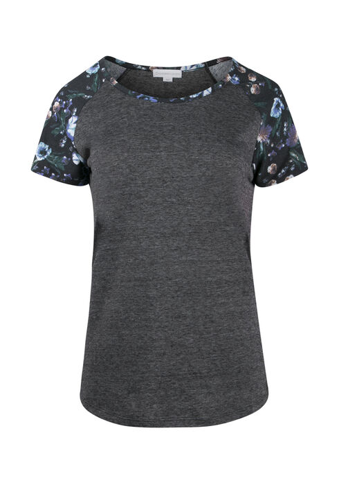 Ladies' Floral Baseball Tee, BLACK, hi-res