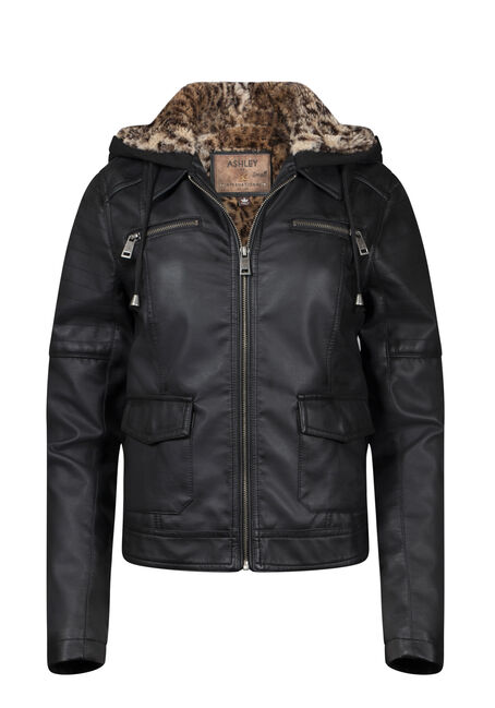 Women's Hooded Moto Jacket