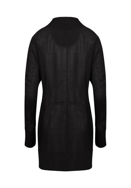 Womens' Marled Open Cardigan, SOLID BLACK, hi-res