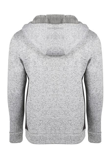 Men's Sweater Knit Zip Front Hoodie, WINTER WHITE, hi-res