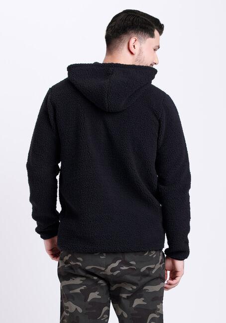 Men's 1/4 Zip Sherpa Hoodie, BLACK, hi-res