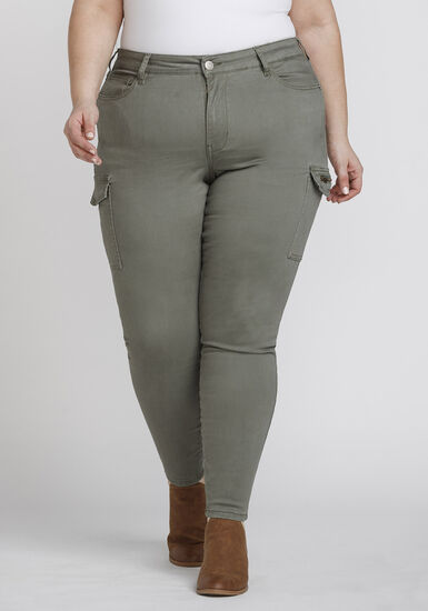 Women's Plus Size Cargo Skinny Pant, LIGHT OLIVE, hi-res