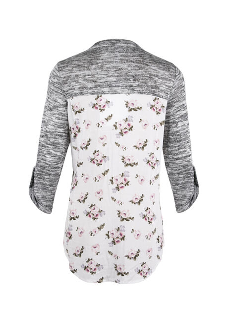 Ladies' Floral Roll Sleeve Shirt, PEACH, hi-res