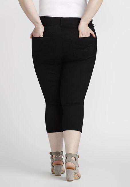Women's Plus Size Coloured Skinny Capri, BLACK, hi-res