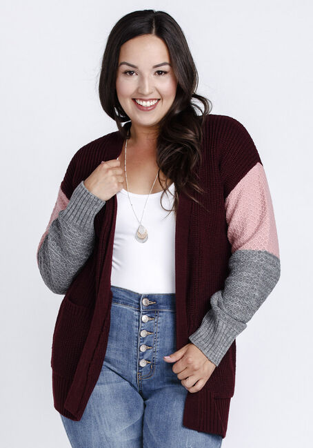 Women's Colour Block Cardigan, BURGUNDY/PINK, hi-res