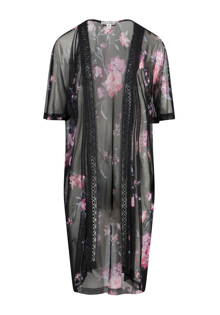 Women's Floral Mesh Crochet Trim Kimono
