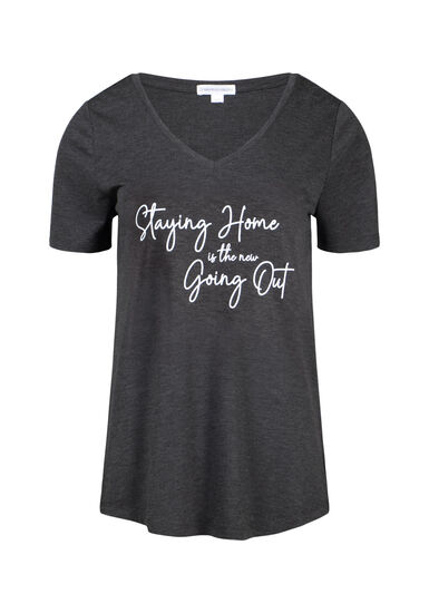 Women's Stay Home V Neck Tee, CHARCOAL, hi-res