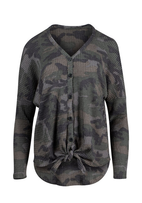 Women's Camo Button Up V-Neck Waffle Top