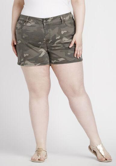 Women's Plus Size Camo Print Short, DARK OLIVE, hi-res