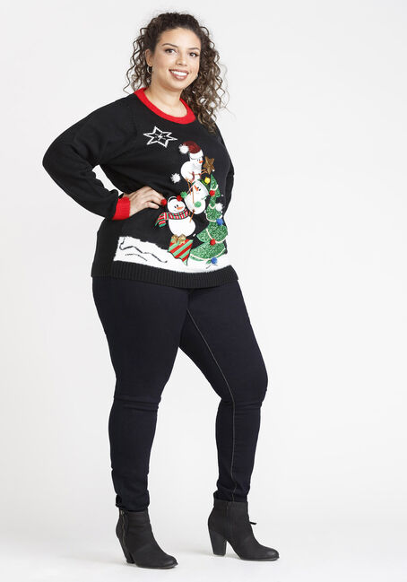 Women's Light Up Sweater, BLACK, hi-res