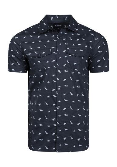 Men's Shark Print Shirt, CHARCOAL, hi-res