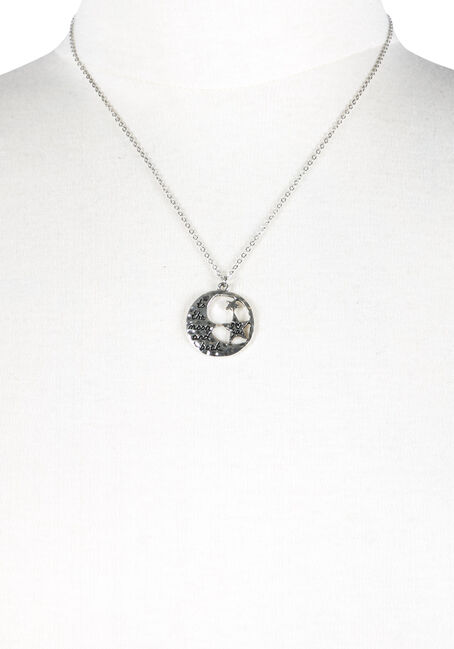 Ladies' To The Moon & Back Necklace, RHODIUM, hi-res