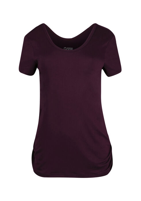 Women's Scoop Neck Ruched Side Tee, DEEP ORCHID, hi-res