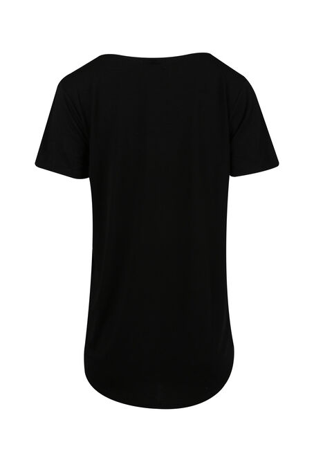 Ladies' Josie Cross Neck Tee, BLACK, hi-res