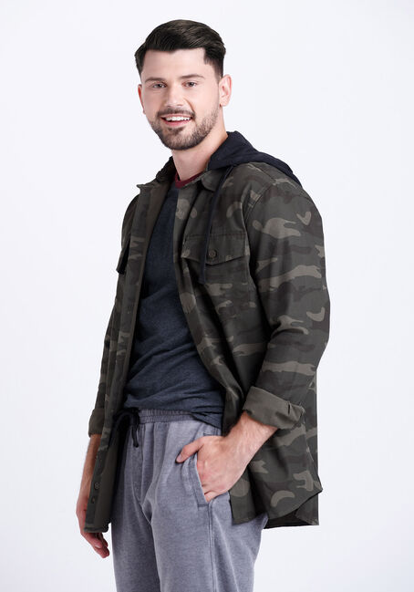 Men's Hooded Camo Canvas Work Jacket