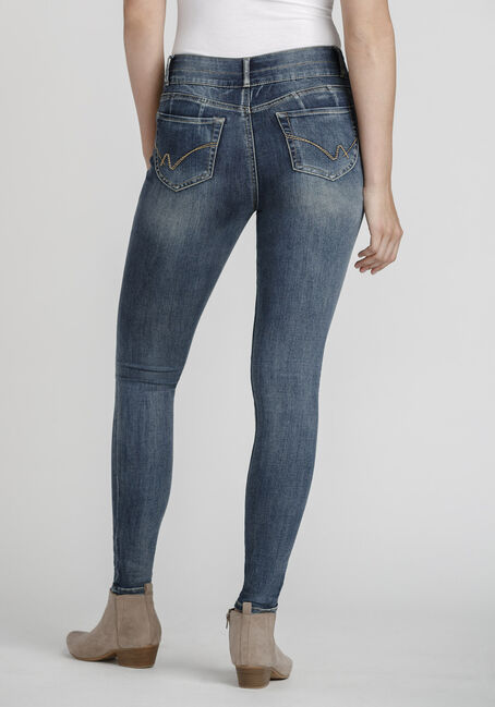 Women's Stacked Button Light Wash Skinny Jeans, MEDIUM WASH, hi-res