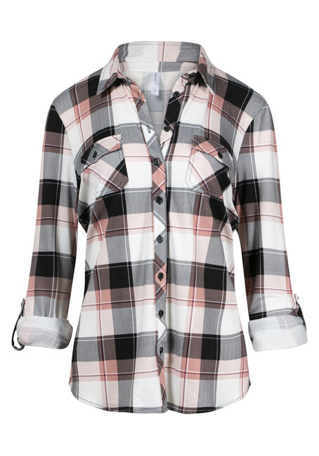 Women's Knit Plaid Shirt