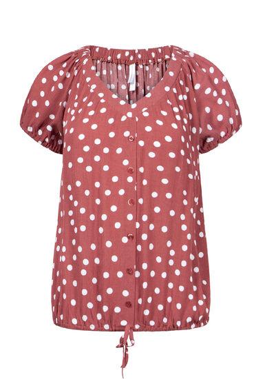 Women's Polka Dot Tie Front Top, SEDONA, hi-res