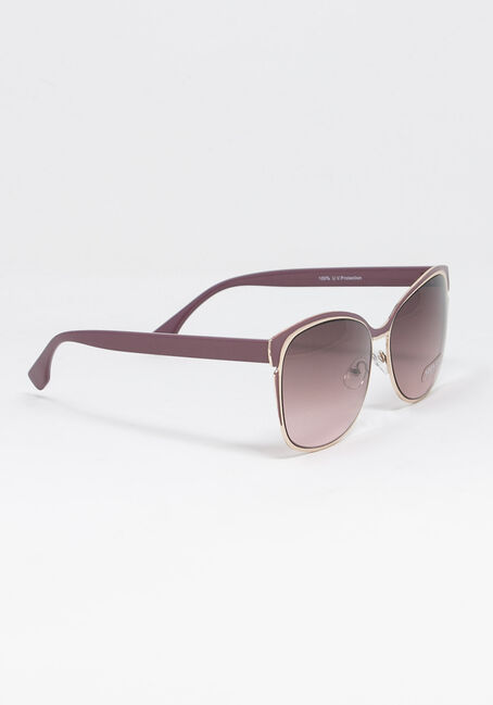 Women's Metal Frame Sunglasses, PURPLE, hi-res
