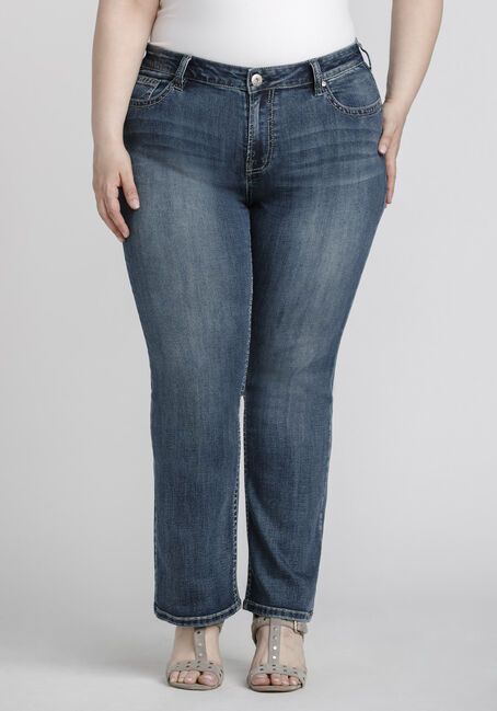 Women's Plus Size Mid Wash Baby Boot Jeans